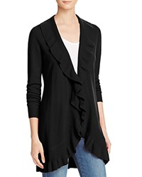 Bloomingdale's C By Ruffled Cashmere Cardigan Black