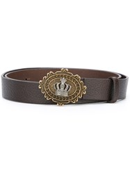 Dolce And Gabbana Crown Buckle Belt Brown