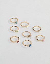 Monki Multi Pack Rings In Gold Gold Multi Stone