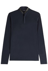 The Kooples Long Sleeved Knit Top With Leather Blue