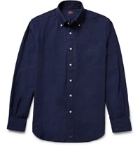 Massimo Piombo Mp Button Down Collar Linen Blend Shirt Storm Blue