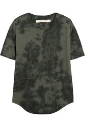 Raquel Allegra Tie Dyed Stretch Cotton Blend Jersey T Shirt Dark Gray