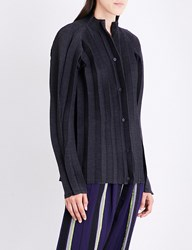 Issey Miyake Stand Collar Pleated Jacket Gray