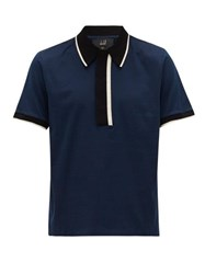 Dunhill Deco Mercerised Cotton Jersey Polo Shirt Navy