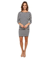 Culture Phit Millie 3 4 Sleeve T Shirt Dress Navy White Stripe Women's Dress