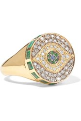 Ileana Makri Dawn Candy Chevalier 18 Karat Gold Multi Stone Ring