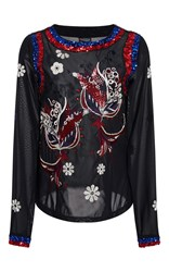 Cynthia Rowley Embellished Mesh Beaded Top Black