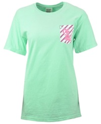 Royce Apparel Inc Women's Mississippi Rebels Candy Cane Crew T Shirt Island Green