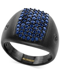 Effy Men's Sapphire Cluster Ring 1 1 3 Ct. T.W. In Black Rhodium Plated Sterling Silver Blue