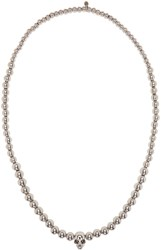 Alexander Mcqueen Silver Skull Ball Beaded Necklace