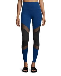 Beyond Yoga Deco Mirror Paneled High Waist Long Leggings Black Cobalt Blue Black
