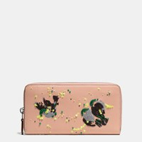 Coach Accordion Zip Wallet In Glovetanned Leather With Meadowlark Embellishment Bp Nude Pink