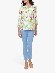 Nydj The Perfect Blouse Tropical Garden White
