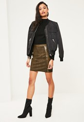 Missguided Khaki Faux Leather And Suede A Line Mini Skirt