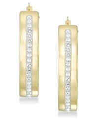 Signature Gold Diamond Accent Swarovski Crystal Hoop Earrings In 14K Over Resin Yellow Gold