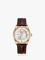 Hamilton H32735551 'S Jazzmaster Viewmatic Automatic Heartbeat Leather Strap Watch Brown White