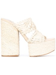 Paloma Barcelo Platform Mules Nude And Neutrals