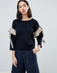 Amy Lynn Jumper With Embellished Sleeve Detail Black