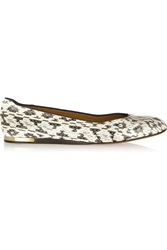 Calvin Klein Cleo Snake Effect Leather Ballet Flats Animal Print