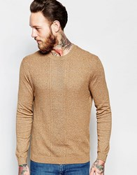 Asos Cable Knit Jumper In Mustard Twist Cotton Yellow