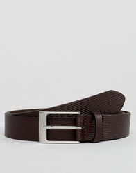 Asos Smart Slim Belt In Brown Leather With Saffiano Emboss Brown