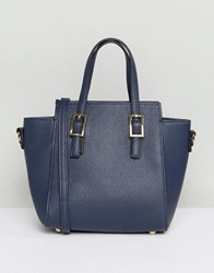 Amy Lynn Structured Tote Bag With Optional Shoulder Strap Navy