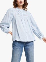 And Or Lucy Lace Blouse Pale Blue