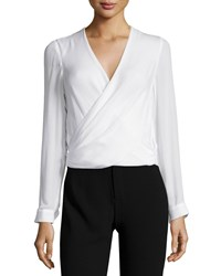 L'agence Gia Long Sleeve Silk Surplice Top Ivory