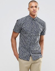 Selected Milton Slim Fit Short Sleeved Shirt Navy