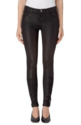 J Brand Women's 620 Mid Rise Super Skinny Jeans Coated Black Lace