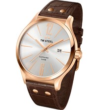 Tw Steel Tw1304 Slim Line Rose Gold Plated Stainless Watch Stainless Steel