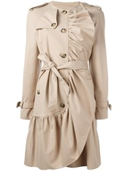 Boutique Moschino Drawstring Trench Coat Nude Neutrals