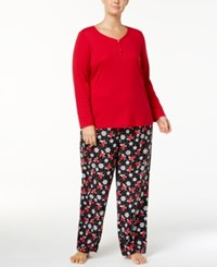 Charter Club Plus Size Trimmed Knit Top And Printed Pants Pajama Set Created For Macy's Holiday Bird
