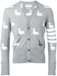 Thom Browne 4 Bar Duck Intarsia Cardigan Grey