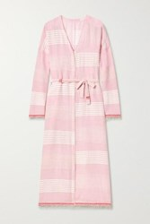 Lemlem Rekik Belted Frayed Striped Cotton Gauze Midi Dress Baby Pink