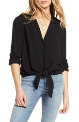Treasure And Bond Tie Front Shirt Black