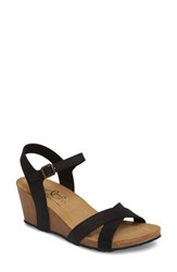 Bos. And Co. Lucca Wedge Sandal Black Nubuck Leather