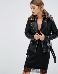 New Look Leather Biker Jacket Leopard Print Collar Black