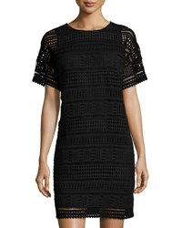 Vince Short Sleeve Lace Shift Dress Black