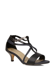 Evans Extra Wide Fit Black Strappy Kitten Heel