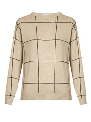 Brunello Cucinelli Checked Cashmere And Silk Blend Sweater Beige