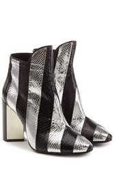 Pierre Hardy Leather Ankle Boots With Snakeskin Multicolor