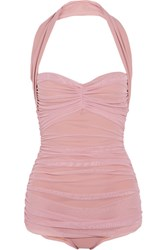 Norma Kamali Bill Mio Ruched Stretch Tulle Swimsuit Pastel Pink