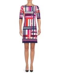 Eliza J Three Quarter Sleeve Plaid Sheath Dress White Pink Purple