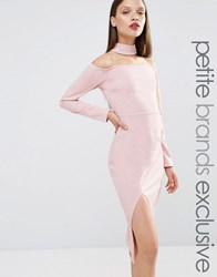 Naanaa Petite Bardot Pencil Dress With Neck Detail And Thigh Split Mauve Purple