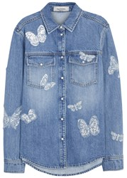 Valentino Blue Butterfly Appliqued Denim Shirt