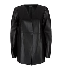 Eileen Fisher Open Front Leather Jacket Female Black