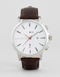 French Connection Watch In Brown Croc Leather Strap Black