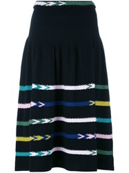 Barrie Striped Knit Skirt Black