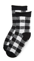 Plush Rolled Fleece Plaid Socks Black White Plaid